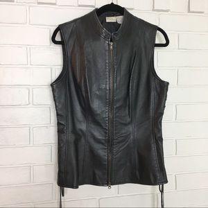 Newport News Black 100% Leather Lace Up Vest